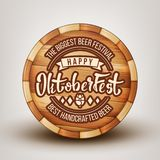 Wooden Barrel With Engraving Advertising Vector. Barrel With Invitation Text On Biggest Beer Festival For Tasty Best Handcrafted Alcoholic Drink. Happy royalty free illustration