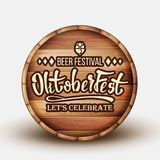 Wooden Barrel With Engraving Invitation Vector. Barrel With Text Advertising Of Beer Festival Oktoberfest Celebrate. Colorful Bright Brown Container Front View vector illustration