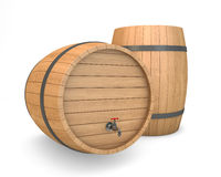 Wooden Barrel with faucet Royalty Free Stock Photos