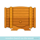 Wooden barrel flat icon Stock Images