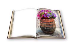 Wooden barrel with flowerpot above - 3D render photo book concep. T image with space for text Stock Image