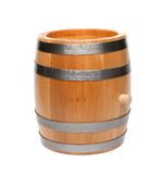 Wooden barrel. With four hoops, close-up, white background Royalty Free Stock Image