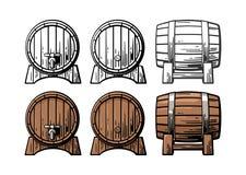 Wooden barrel front and side view engraving illustration vector illustration