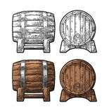 Wooden barrel front and side view engraving vector vector illustration
