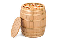 Wooden barrel full of gold coins, 3D rendering Royalty Free Stock Images