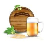 Wooden barrel, glass of beer, hops and barley. Vector illustration vector illustration