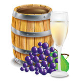 Wooden barrel; with glass and grapes Royalty Free Stock Photo