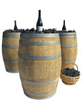 Wooden barrel with grapes and wine bottles isolated over white Stock Photos