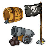 Wooden barrel of gunpowder, cannon and pirate flag Royalty Free Stock Images