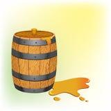 Wooden barrel of honey Stock Image