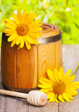 Wooden barrel of honey Royalty Free Stock Image
