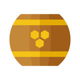 Wooden Barrel with Honey Vector Illustration. Stock Images
