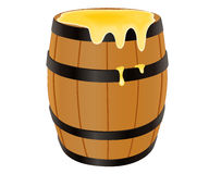 Wooden barrel with honey. Vector illustration  on white Stock Images