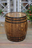 Wooden barrel with hoops Stock Images