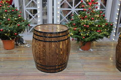 Wooden barrel with hoops Royalty Free Stock Photos