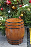 Wooden barrel with hoops Royalty Free Stock Photo