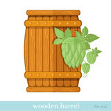 Wooden barrel with hop Stock Photos