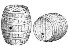 Wooden barrel illustration, drawing, engraving, ink, line art, vector. Illustration, what made by ink and pencil on paper, then it was digitalized stock illustration