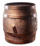 Wooden barrel with iron rings. Royalty Free Stock Images