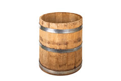Wooden barrel with iron rings. Isolated on white background Royalty Free Stock Photography