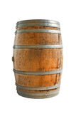 Wooden barrel with iron rings. Isolated on white background. Clipping paths included. stock images