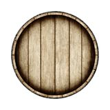 Wooden barrel isolated on white background, top view. 3d rendering. Old wine, whiskey, beer barrel stock illustration