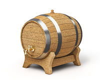 Wooden barrel isolated on white Stock Photography