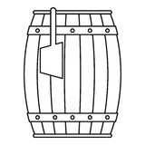 Wooden barrel with ladle icon outline Royalty Free Stock Photo