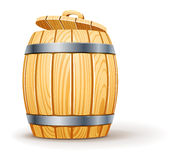 Wooden barrel with lid vector illustration