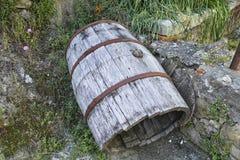 Wooden barrel. In a little village in la spezia royalty free stock photos