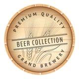 Wooden barrel with logo. Stock Photos