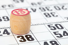 Wooden barrel lotto with number thirteen Royalty Free Stock Photos