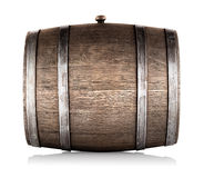 Wooden barrel lying on its side royalty free stock photo