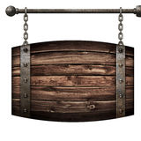 Wooden barrel medieval signboard hanging on chains isolated 3d illustration stock image