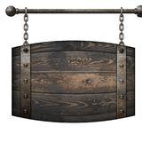 Wooden barrel medieval signboard hanging on chains isolated 3d illustration stock photography