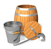 Wooden barrel and metal bucket Stock Images