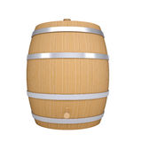 Wooden barrel with metal hoops Stock Photo