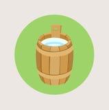 Wooden barrel with milk flat design. Vector vector illustration