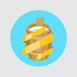 Wooden barrel with milk and golden ribbon for quality flat desig Stock Images