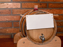 Wooden barrel with note Stock Photo