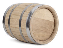 Wooden barrel. Oak wooden barrel with iron rings. on white with clipping paths stock photo