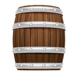 Wooden barrel object 3D design isolated. On white vector illustration Royalty Free Stock Photo