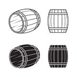 Wooden barrel set. Blac, isolated on a white background vector illustration