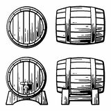 Wooden barrel set engraving vector illustration Stock Photo