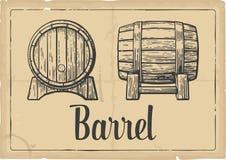 Wooden barrel set engraving vector illustration. Black and white vintage . Wooden barrel set engraving vector illustration. Black and white vintage engraving royalty free illustration