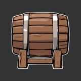 Wooden barrel set engraving vector illustration stock illustration