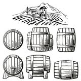 Wooden barrel set and  rural landscape with villa, vineyard fields, hills, mountains. Black and white vintage vector illustration. For label, poster, web, icon Stock Images