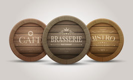 Wooden barrel signboards Royalty Free Stock Image