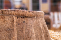 Wooden barrel, straw , snow Royalty Free Stock Photo