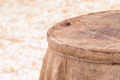 Wooden barrel, straw , snow Stock Photo